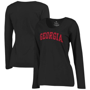 Women Georgia Bulldogs Basic Arch Black Long Sleeve College Football T-Shirt 157016-624