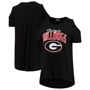 Women Georgia Bulldogs Gameday Cold Shoulder Flowy Top Black College Football T-Shirt 141061-525