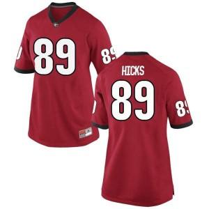 Women Georgia Bulldogs #89 Braxton Hicks Red Game College Football Jersey 219400-854