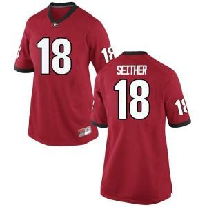 Women Georgia Bulldogs #18 Brett Seither Red Replica College Football Jersey 530439-416