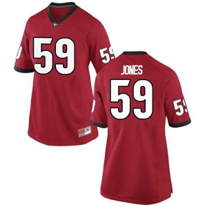 Women Georgia Bulldogs #59 Broderick Jones Red Game College Football Jersey 482942-954