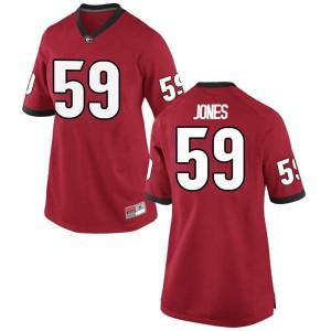 Women Georgia Bulldogs #59 Broderick Jones Red Replica College Football Jersey 415510-571