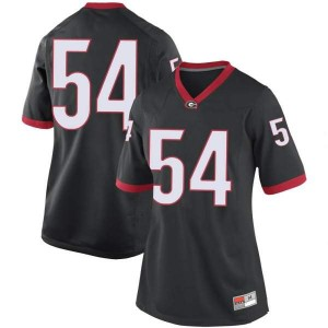 Women Georgia Bulldogs #54 Cade Brock Black Game College Football Jersey 221184-575
