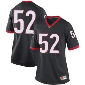 Women Georgia Bulldogs #52 Cameron Kinnie Black Replica College Football Jersey 805918-822