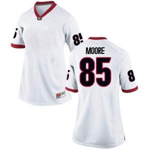Women Georgia Bulldogs #85 Cameron Moore White Replica College Football Jersey 365006-229