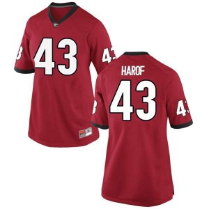 Women Georgia Bulldogs #43 Chase Harof Red Replica College Football Jersey 177271-387