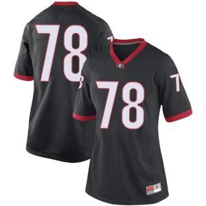 Women Georgia Bulldogs #78 D'Marcus Hayes Black Replica College Football Jersey 711260-335