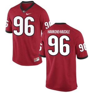 Women Georgia Bulldogs #96 DaQuan Hawkins-Muckle Red Replica College Football Jersey 499567-168