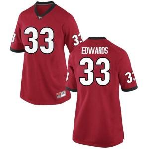 Women Georgia Bulldogs #33 Daijun Edwards Red Replica College Football Jersey 302378-167