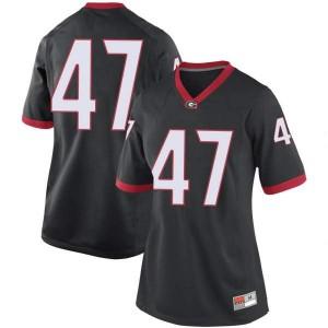 Women Georgia Bulldogs #47 Dan Jackson Black Replica College Football Jersey 135543-812