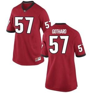 Women Georgia Bulldogs #57 Daniel Gothard Red Game College Football Jersey 799721-145