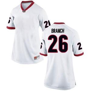 Women Georgia Bulldogs #26 Daran Branch White Replica College Football Jersey 619472-251
