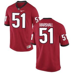 Women Georgia Bulldogs #51 David Marshall Red Replica College Football Jersey 381300-741
