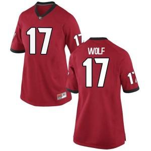Women Georgia Bulldogs #17 Eli Wolf Red Game College Football Jersey 592479-937