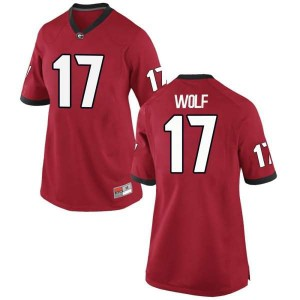 Women Georgia Bulldogs #17 Eli Wolf Red Replica College Football Jersey 363555-490