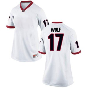Women Georgia Bulldogs #17 Eli Wolf White Replica College Football Jersey 474479-763