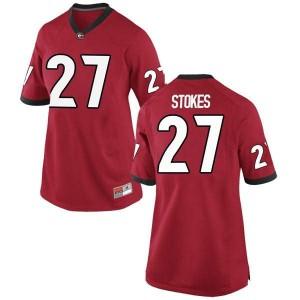 Women Georgia Bulldogs #27 Eric Stokes Red Game College Football Jersey 983632-624