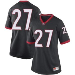 Women Georgia Bulldogs #27 Eric Stokes Black Replica College Football Jersey 427765-883