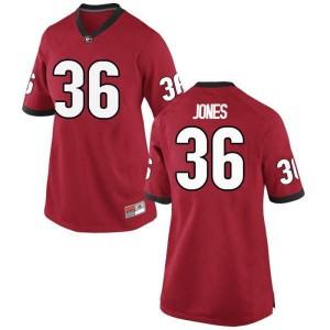 Women Georgia Bulldogs #36 Garrett Jones Red Game College Football Jersey 520042-256