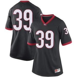 Women Georgia Bulldogs #39 Hugh Nelson Black Game College Football Jersey 557473-877