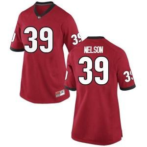 Women Georgia Bulldogs #39 Hugh Nelson Red Replica College Football Jersey 396678-274
