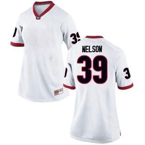 Women Georgia Bulldogs #39 Hugh Nelson White Replica College Football Jersey 147456-500