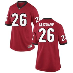 Women Georgia Bulldogs #26 Jackson Muschamp Red Replica College Football Jersey 294838-632