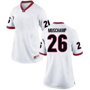 Women Georgia Bulldogs #26 Jackson Muschamp White Replica College Football Jersey 167549-141