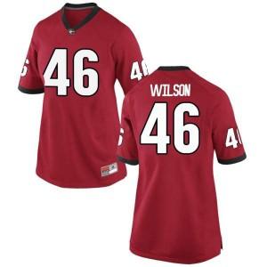 Women Georgia Bulldogs #46 Jake Wilson Red Replica College Football Jersey 170377-338
