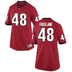 Women Georgia Bulldogs #48 Jarrett Freeland Red Replica College Football Jersey 938613-845