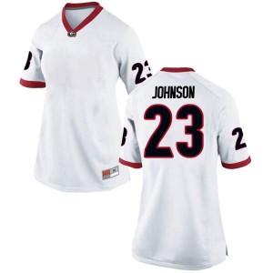 Women Georgia Bulldogs #23 Jaylen Johnson White Replica College Football Jersey 420887-433
