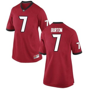 Women Georgia Bulldogs #7 Jermaine Burton Red Replica College Football Jersey 337386-224