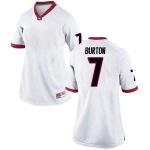 Women Georgia Bulldogs #7 Jermaine Burton White Replica College Football Jersey 185507-847