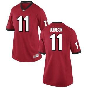 Women Georgia Bulldogs #11 Jermaine Johnson Red Replica College Football Jersey 542230-712