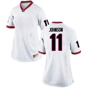 Women Georgia Bulldogs #11 Jermaine Johnson White Replica College Football Jersey 503168-765