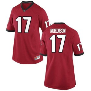 Women Georgia Bulldogs #17 Justin Robinson Red Replica College Football Jersey 495820-131