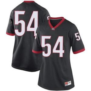 Women Georgia Bulldogs #54 Justin Shaffer Black Replica College Football Jersey 942886-954
