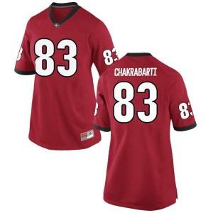 Women Georgia Bulldogs #83 Kaustov Chakrabarti Red Game College Football Jersey 510418-871