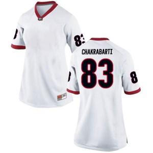 Women Georgia Bulldogs #83 Kaustov Chakrabarti White Game College Football Jersey 809308-525