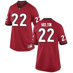 Women Georgia Bulldogs #22 Kendall Milton Red Replica College Football Jersey 238526-327