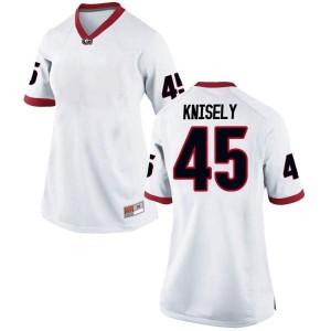 Women Georgia Bulldogs #45 Kurt Knisely White Game College Football Jersey 178485-605
