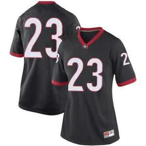 Women Georgia Bulldogs #23 Mark Webb Black Game College Football Jersey 209495-687