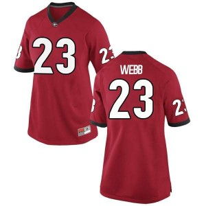 Women Georgia Bulldogs #23 Mark Webb Red Replica College Football Jersey 512586-623