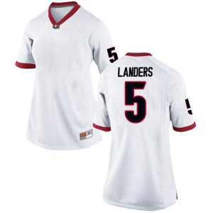 Women Georgia Bulldogs #5 Matt Landers White Game College Football Jersey 530437-562