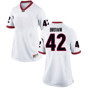 Women Georgia Bulldogs #42 Matthew Brown White Game College Football Jersey 675889-523