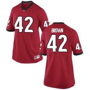 Women Georgia Bulldogs #42 Matthew Brown Red Replica College Football Jersey 237720-569
