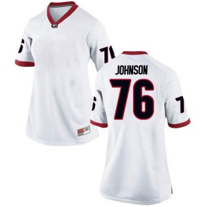 Women Georgia Bulldogs #76 Miles Johnson White Replica College Football Jersey 834998-943
