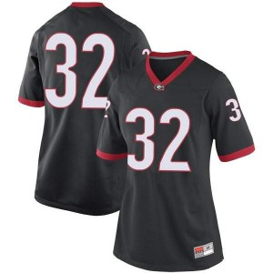 Women Georgia Bulldogs #32 Monty Rice Black Replica College Football Jersey 393085-709