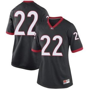 Women Georgia Bulldogs #22 Nate McBride Black Replica College Football Jersey 307058-513