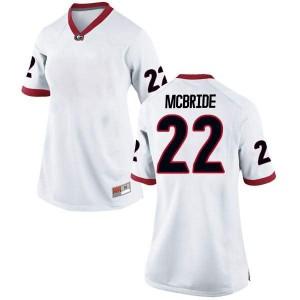 Women Georgia Bulldogs #22 Nate McBride White Replica College Football Jersey 152429-392